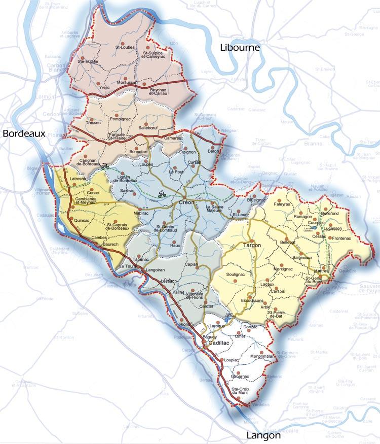 Carte du Pays   Loupiac   Commune du canton de Cadillac en Gironde